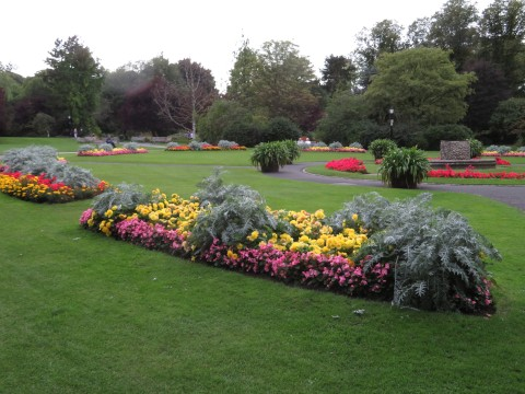 A view of flower beds in the Valley Gardens at Harrogate, Yorkshire, UK