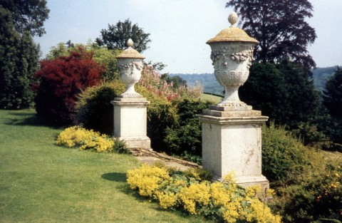 Polsden Lacey gardens with a back drop of the North chalk downs, Surrey, UK